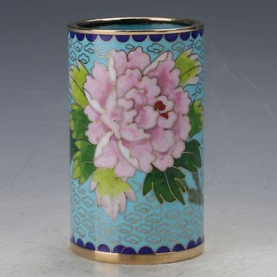 Chinese Cloisonne painted Flower Brush Pots