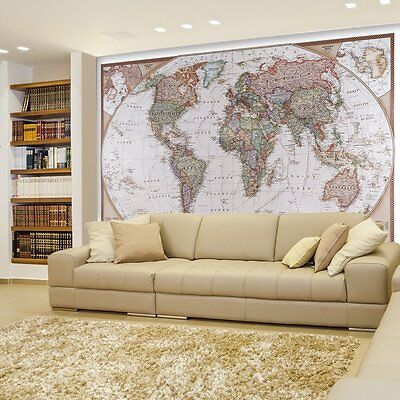 Antique Political Mollweide Map Projection of the Earth - Wall Mural - 100x144