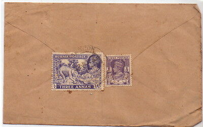 Burma Air Mail  cover Elephant 7 6PS STAMP.