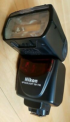 Nikon Flash Speedlight SB-700 in case with stand and filters