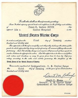 USMC MASTER SERGEANT APPOINTMENT SIGNED by MEDAL OF HONOR RECIPIENT DAVID SHOUP