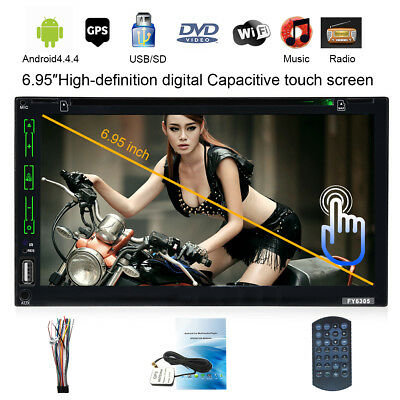 """Doble 2Din 6.95"""" Android 4.4 GPS NAVI Coche DVD Reproductor BT USB AUX WIFI FM"""