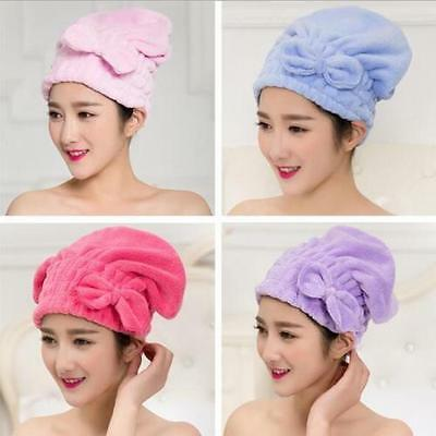 NEW Lovely Bowknot Solid Hair Turban Quickly Dry Hair Hat Towel Head Wrap Hat XP