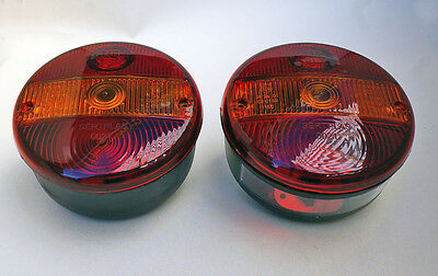 PAIR 12V24V REAR TAIL ROUND LIGHTS LAMPS HAMBURGER VAN TRUCK LORRY TRAILER Emark