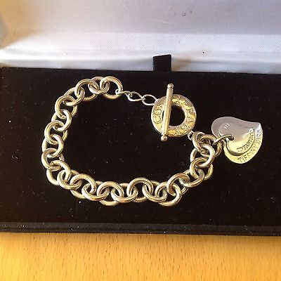 Tiffany & Co 925  Sterling Silver Double Heart Tag Chain Bracelet