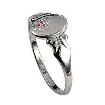 Ladies/teens/childrens Sterling Silver Oval Shaped Signet Ring With Pink Cz