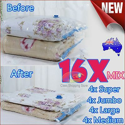 16x Mixed Vacuum Storage Space Saving Bags 4 Mixture Size Perfect Saver Solution