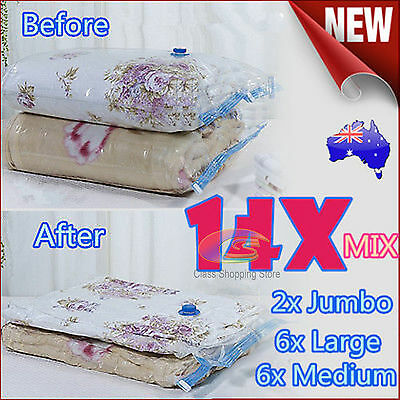 14x Mixed 3 Size Vacuum Storage Bags Saver Seal Compressing Space Saving Experts