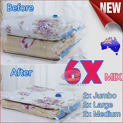 NEW 6x Mixed Vacuum Storage Space Saving Bags 3 Sizes Perfect Saver Solution OZ