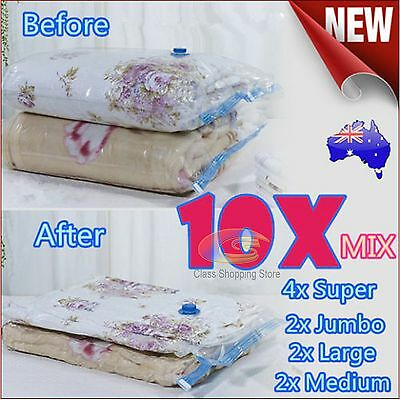 10x Mixed Vacuum Storage Space Saving Bags 4 Mixture Size Perfect Saver Solution