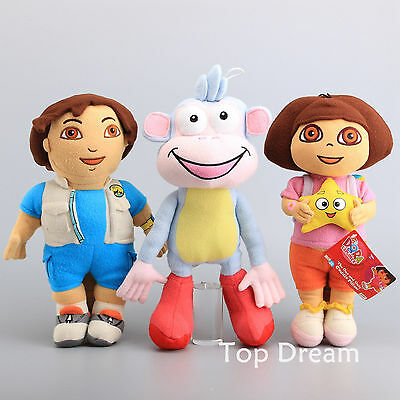 3pcs Dora The Explorer Diego Go Boots The Monkey Plush Toy Soft Doll 16'' Figure