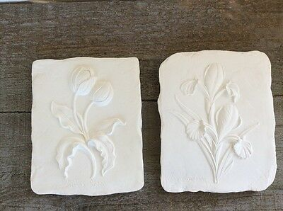 Paint Your Own Pottery Wall Plaques Distressed Finish Retro Style Ceramic