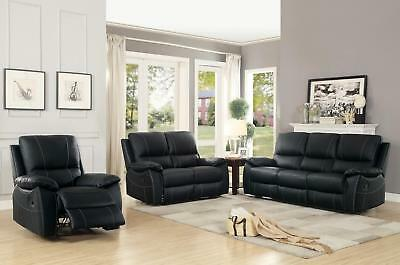 Greeley Black Top Grain Leather Double Reclining Sofa Living Room Set