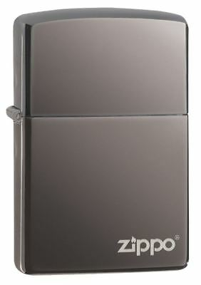 NEW Genuine Zippo Windproof Refillable Petrol Lighter w/ Logo - Shiny Black Ice