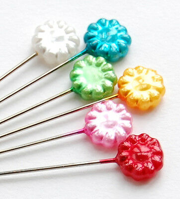 Flower Pinwheel Rainbow Pins Extra Long Pins x 30 for Dressmaking Tailor Scarf