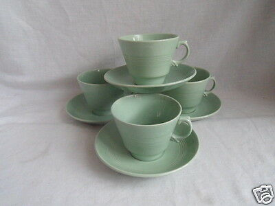 Vintage Woods Ware Beryl Tea Cups and Saucers x 4