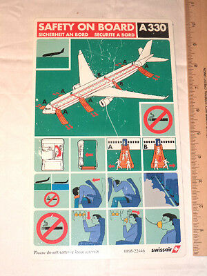 Airline Safety Card Swissair A330