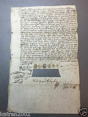 Medieval Antique Manuscript Ancient Document With Real Antique Stamps Signed