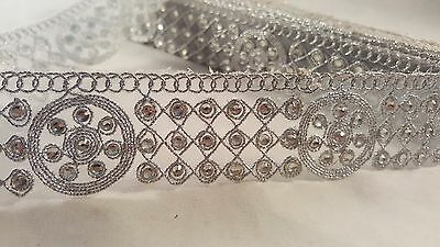 3cm- 1 meter Beautiful silver beaded lace trimming for designing sewing crafts
