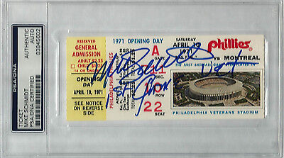 Mike Schmidt signed 1971 Opening Day Ticket Stub - 1st Game at Vet PSA Authentic