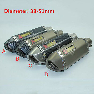 Universal Motorcycle 38-51MM Exhaust Muffler Pipe With Removable DB Killer