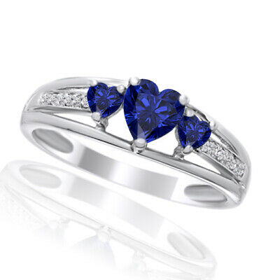 Heart Blue Sapphire Three Stone and Diamond Accent Ring in 14K White Gold Over
