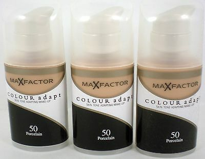 3 x Max Factor Colour Adapt Foundation 34ml: 50 porcelain