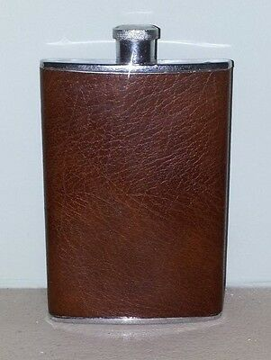 8oz Hip Flask Brown Leather Finish