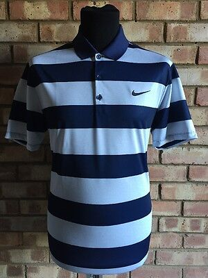 Nike Golf Victory Bold Stripe Polo , Navy & Silver 725516 Clearance Medium