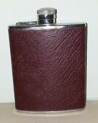 Lichfield Leather 6oz Hip Flask Brown Leather Finish