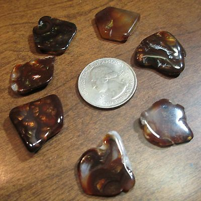 Tumbled Natural Free form MEXICAN Fire Agate GEM stone LOT OF 7