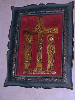 Icon of the crucifixion velvet background in coloured heavy metal frame unique