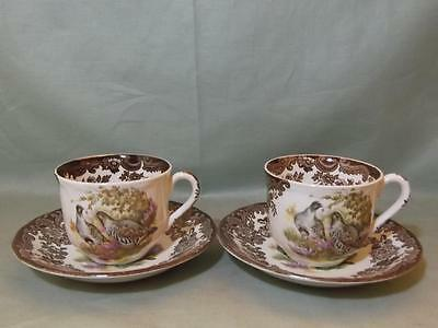 2 Royal Worcester Palissy Game Series Tea Cups & Saucers (Lot B)
