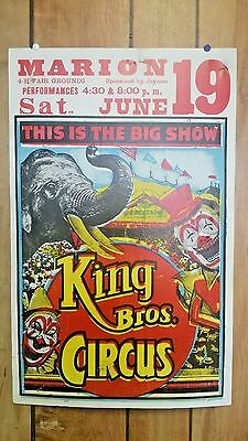 Unique King Bros Circus Poster Beautiful and Vibrant!