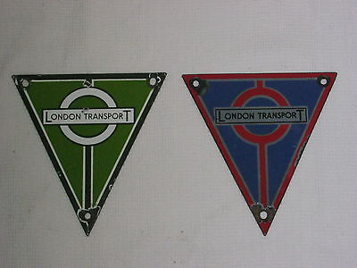 Enamel London Transport Radiator Plates - Pair of city and rural badges