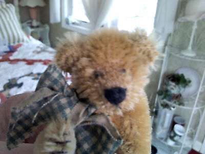 "Artist's mohair bear 3 1/2"" tall, golden brown/tan fully jointed"