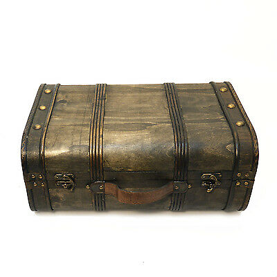 Wooden Trunk, Domed Old Fashioned Treasure Chest Style