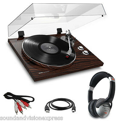 Akai BT500 HiFi Turntable Record Player + Bluetooth +USB Lead +Cart +Headphones