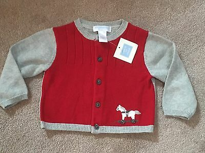 Baby Boys Janie & Jack Red Grey Horse Cardigan Winter Sweater 12-18 Months NWT