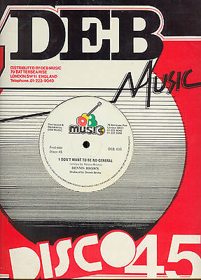 """DENNIS BROWN - I Don't Want To Be No General - DEB Music 12"""" - 1980 ORIG - EX+"""