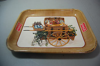 Vintage Coca Cola Tray 1958 Picnic Basket in a Cart Serving Advertising