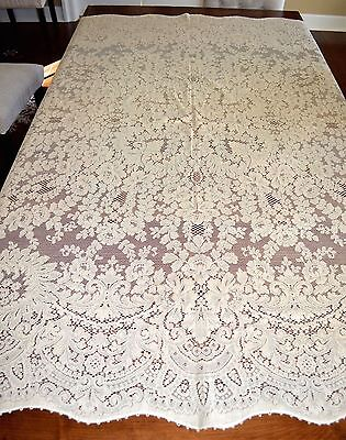 Vintage Quaker Lace Tablecoth Floral Neoclassic Quality Square 74 By 80 Inch