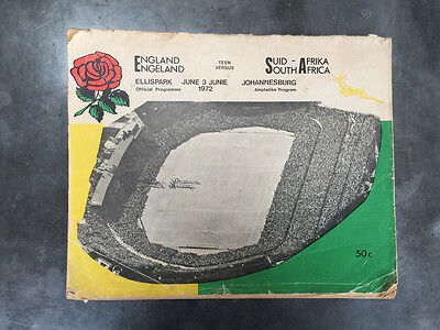 South Africa v England - Rugby Programme - Ellispark, June 3, 1972