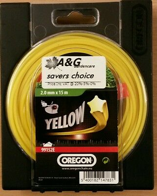 savers choice OREGON 2.0 Yellow Starline 15M Strimmer Cord 99152E 5400182147831'