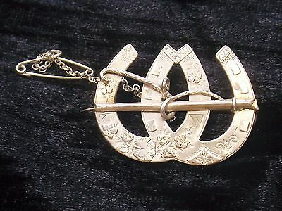Antique Sterling Silver Sweetheart Brooch 1890  DOUBLE DECORATED HORSE SHOE