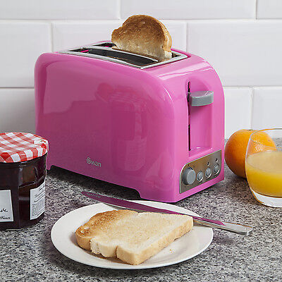 Swan 2 Slice Toaster With Removable Bread Crumb Tray 2 Year Guarantee Pink New