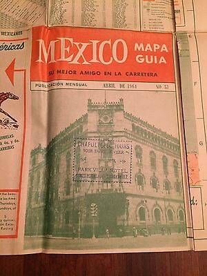Vintage Misfolded. Road Map Of Mexico. Full Colour. EUC.