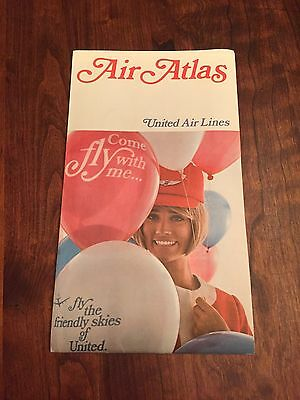Vintage Air Atlas United Airlines. Map Of Routes. Full Colour. EUC.