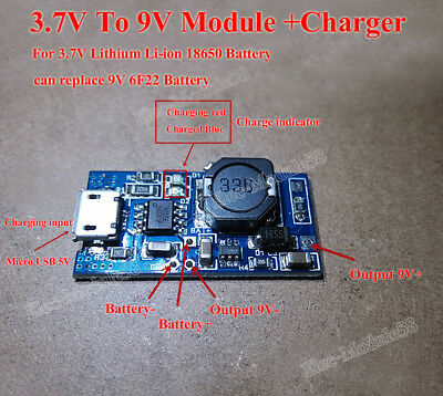 USB Lithium Li-ion 18650 Battery Charger Module 3.7v 4.2v Boost Step Up 9V 6F22