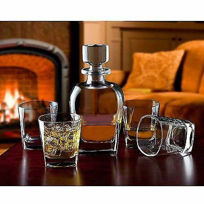 Shannon Crystal Marquis Whiskey Decanter and 4 Double Old-Fashioned Glasses Set